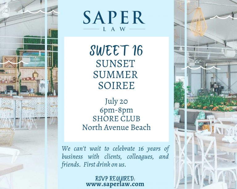 RSVP for Saper Law's Sweet 16 Sunset Summer Soiree at Shore Club